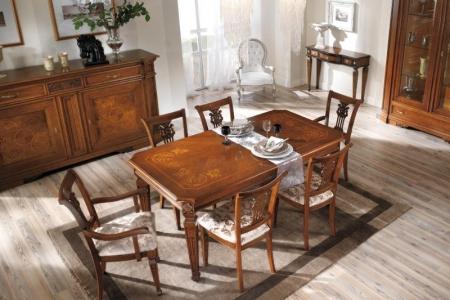 tavolo intarsiato allungabile