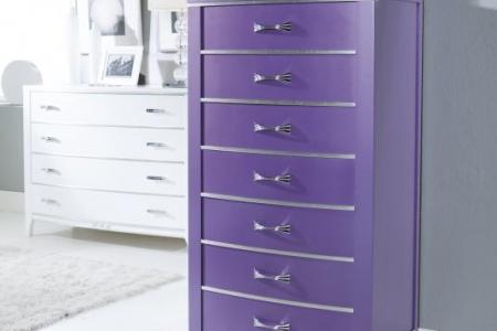 cassettiera frassino laccato viola