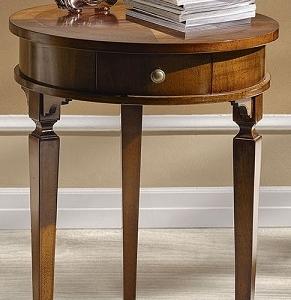 tavolino rotondo colore noce gamba spillo