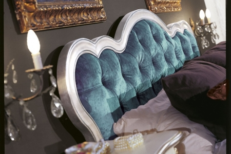 letto foglia argento con velluto capitonnè