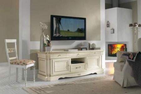 porta tv bianco con detaglio argento