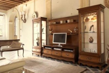 soggiorno noce con porta tv sagomato e 2 cristalliere