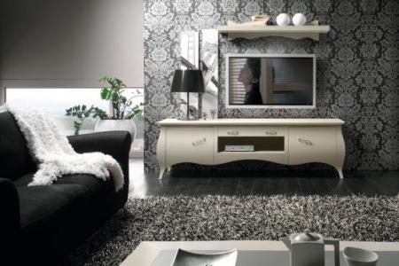 porta tv sagomato laccato bianco
