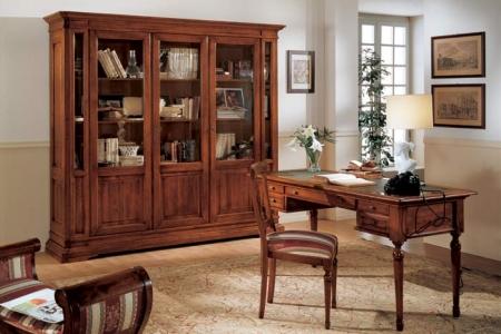 studio noce con libreria 3 ante ed scrivania con piano in pelle
