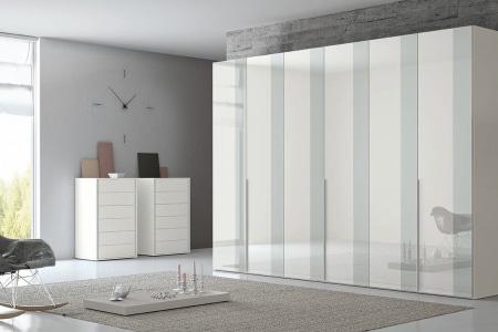 armadio 6 ante bianco e grigio lucido