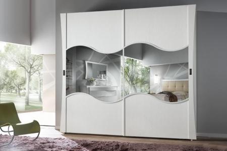 armadio bianco scorrevole in legno frassino