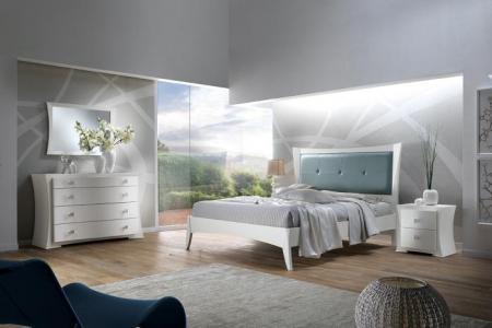 camera bianca matrimoniale   in frassino testata in pelle