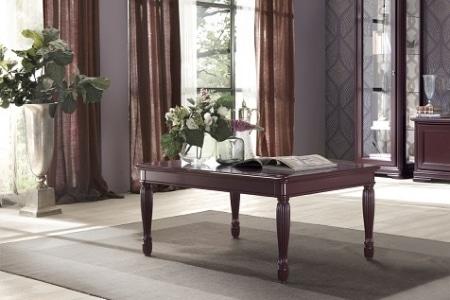 tavolino gamba tornita colore prugna