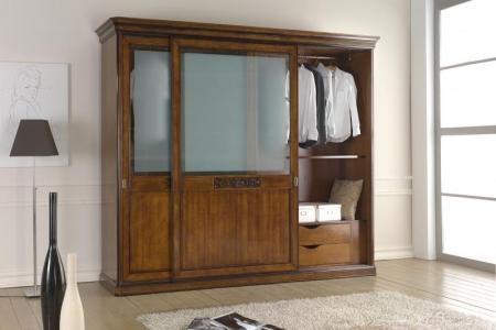 armadio 2 ante  scorrevole con intaglio e vetri temperati