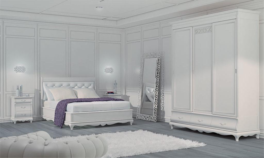 boiserie bianca per camera da letto
